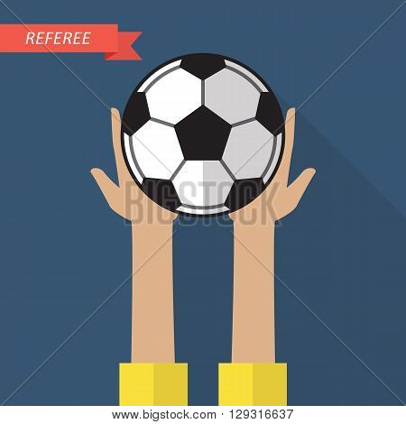 Referee hand holding a soccer ball. Vector illustration