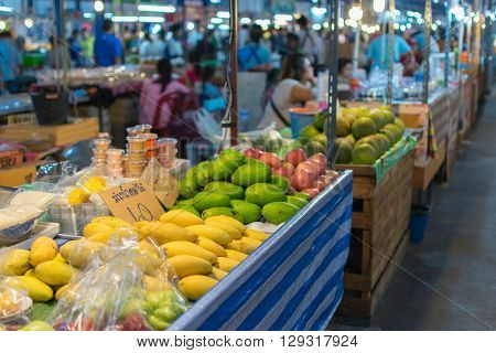 Bangkok Thailand - February 19 2016 : Thai exotic fruits in market. Like the charming people exotic fruit greets you on almost every corner in Thailand.