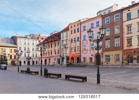 old town square Maly Rynek in old town of Krakow, Poland