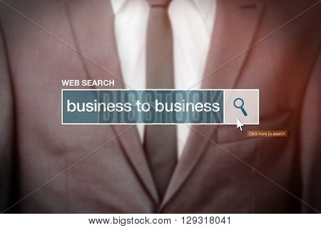 Business to business - web search bar glossary term on internet