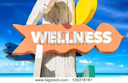 Wellness signpost with beach background