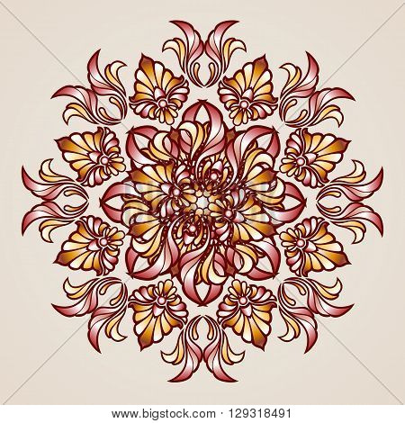 Abstract floral pattern element in the form of flower from leafs and vines