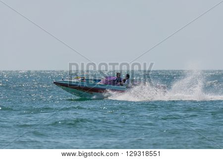 Rayong Thailand - December 31 2015 : Jetski or scooter boat is popular for people travel at LaemMaePhim. LaemMaePhim is a beach and sea without large waves the beach is nice for swimming.