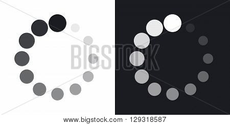 Vector circular loading icon. Two-tone version on black and white background