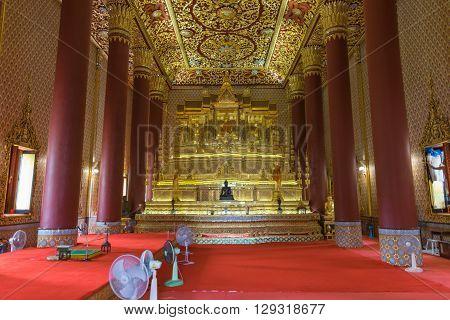 Bangkok Thailand - March 19 2016 : Thai buddha statue at Wat Thep Sirin Thrawat Ratchaworawihan. Wat Thep Sirin is a important Thai temple in Bangkok Thailand.