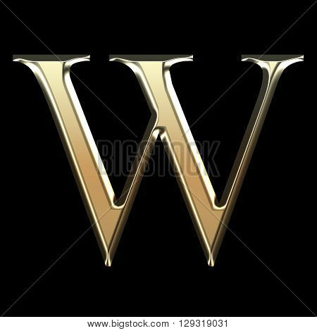 Golden Matte Letter W, Jewellery Font Collection.