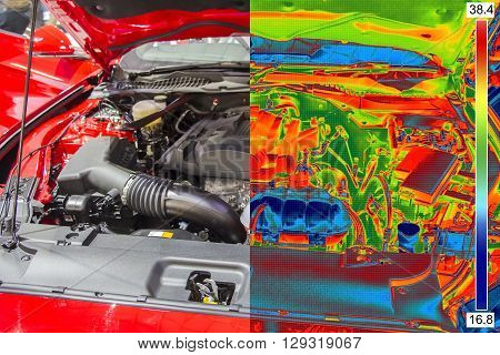 Thermal and real Image of Car Engine
