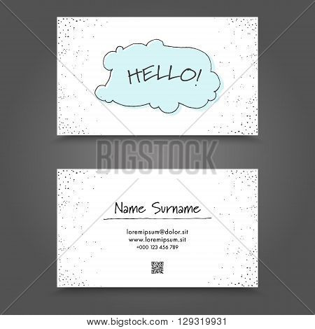 Visit Card with handdrawing funny frame. Handdraw Business Card Design.