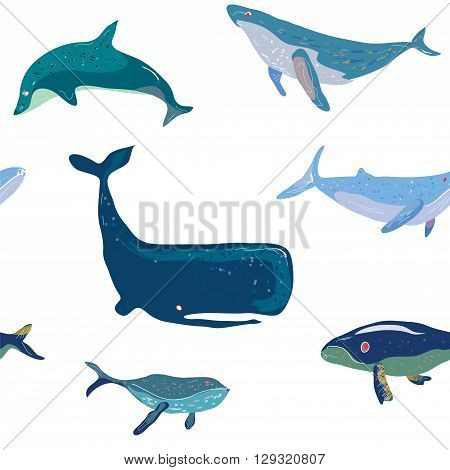 Whales seamless pattern graphic handdrawn illustration vector