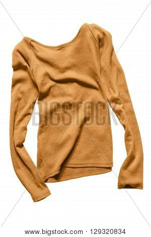 Yellow basics casual pullover crumpled on white background