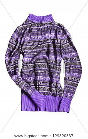 Crumpled purple sweater isolated over white background