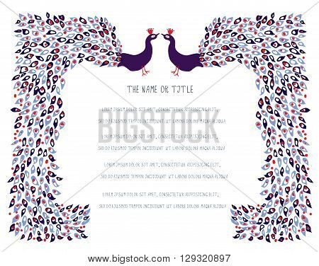 Graphic background with peacocks and layout for the text traditional design vector illustration