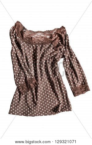 Crumpled brown blouse with polka dots isolated over white