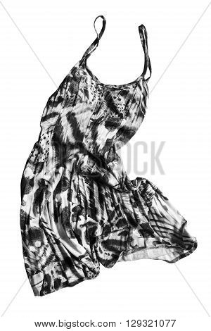 Crumpled black and white silk sundress on white background