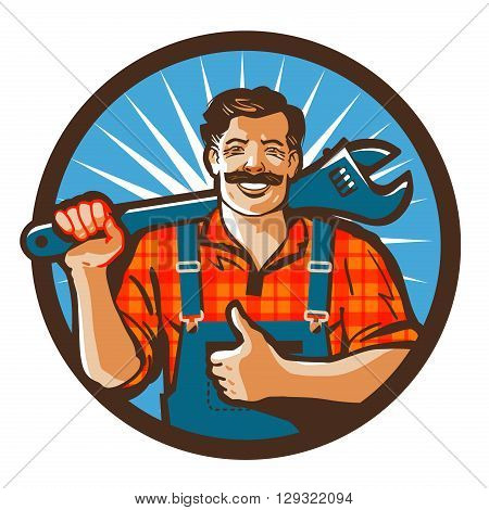 plumbing services. plumber holding a wrench. vector illustration