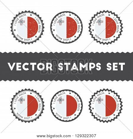 I Love Malta Vector Stamps Set. Retro Patriotic Country Flag Badges. National Flags Vintage Round Si