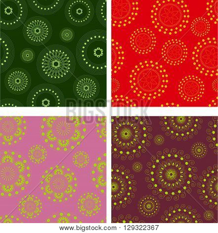 Set of vector abstract seamless doodle pattern. Multicolor patterns with circle and ellipse and dot and line.