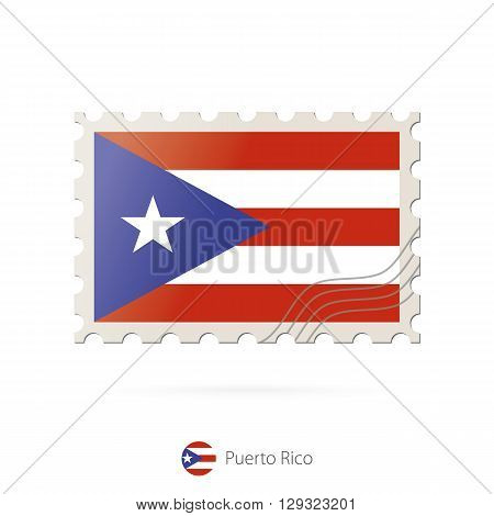 Postage Stamp With The Image Of Puerto Rico Flag.