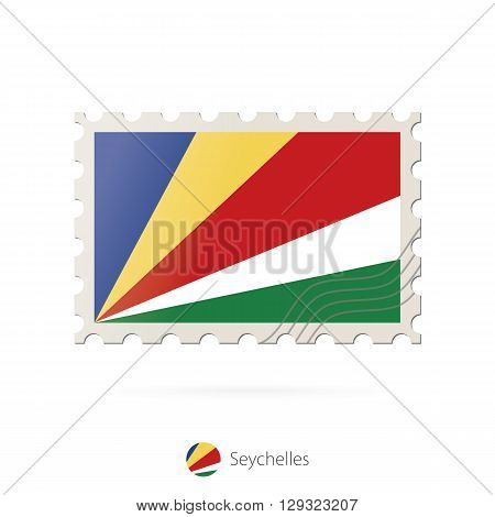 Postage Stamp With The Image Of Seychelles Flag.