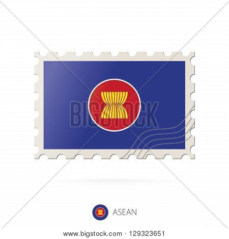 Postage Stamp With The Image Of Asean Flag.