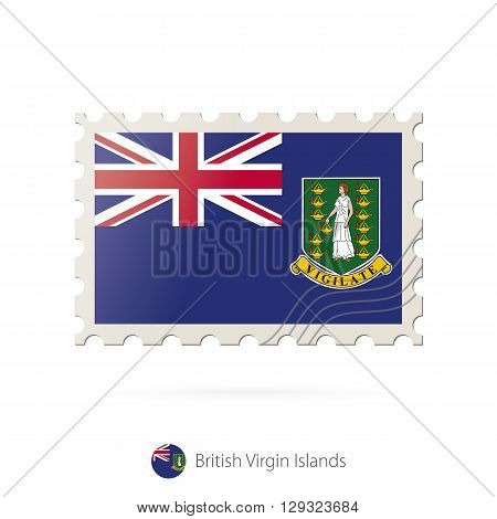Postage Stamp With The Image Of British Virgin Islands Flag.