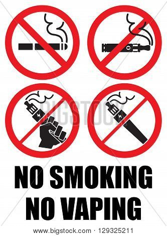 set vaping icons no smoking sign vape