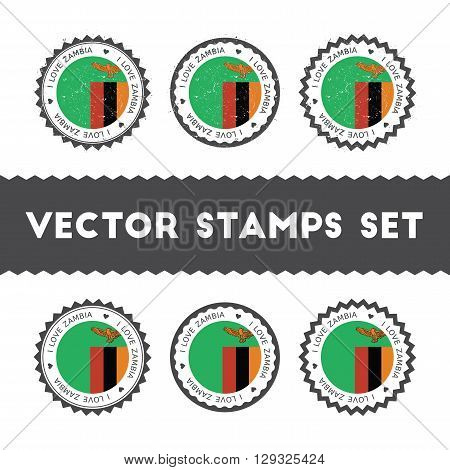 I Love Zambia Vector Stamps Set. Retro Patriotic Country Flag Badges. National Flags Vintage Round S