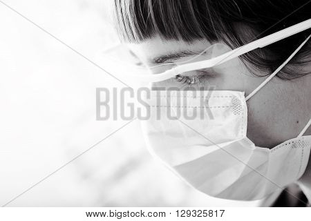 Portrait of a female medical worker in monochrome.
