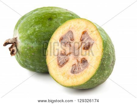 Feijoa isolated on white background vegetarian,, useful,