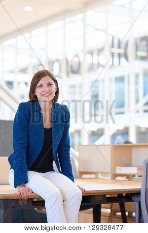 Portrait of an attractive young busiesswoman smiling at the camera in a bright modern office while sitting on the edge of her desk