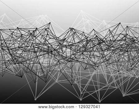 Wire-frame Lattice Mesh. Monochrome 3D