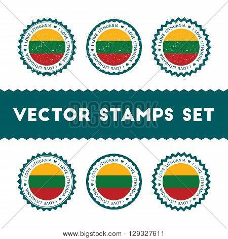 I Love Lithuania Vector Stamps Set. Retro Patriotic Country Flag Badges. National Flags Vintage Roun