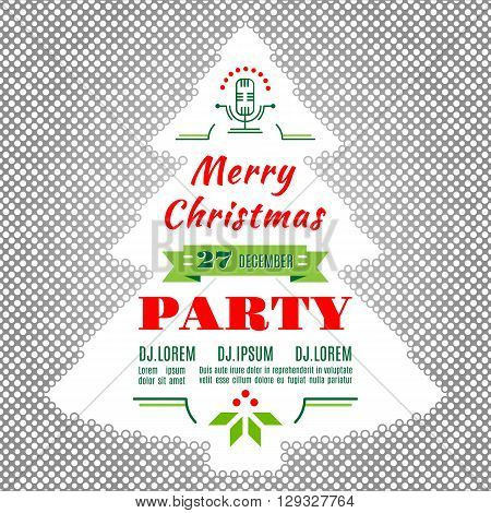 Christmas holidays flyer or poster design. Christmas party invitation modern typography and ornament decoration. Silhouette of a Christmas tree of the points