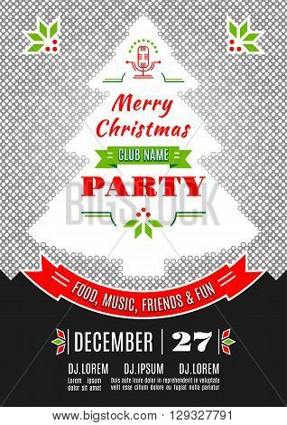 Christmas party invitation modern typography and ornament decoration. Christmas holidays flyer or poster design. Dotted background with a silhouette of a Christmas tree