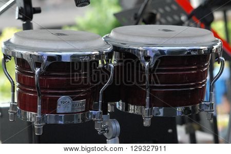 ANKARA/TURKEY-MAY 8, 2016: Umit Eroglu METU Bigband orchestra's timpani at the stage of Sinpas Altin Oran Square during the 20. International Ankara Jazz Festival. May 8, 2016-Ankara/Turkey