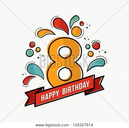 Colorful Happy Birthday Number 8 Flat Line Design