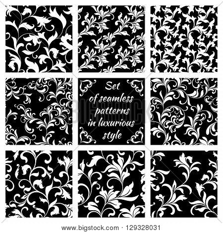 Collection Of Luxurious Seamless Patterns. White Floral Tracery On A Black Background. Vintage Style