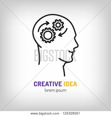 Logo marketing business, Brainstorm, Brainwave, Creative idea, line icon art style vector illustration, Creative idea concept with a human head and gears