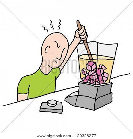 An image of a man stirring a stuck blender.