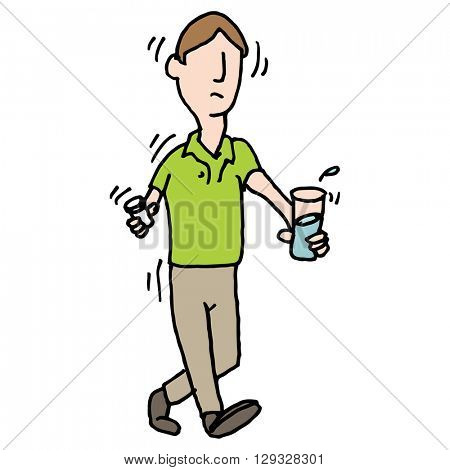 An image of a man shaking nervously taking pills medical problem