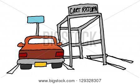 An image of a car parked next to a cart return
