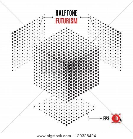 Futuristic technology style halftone background. Cube of the points for the posters, banners, leaflets, flyers, presentations, Web site