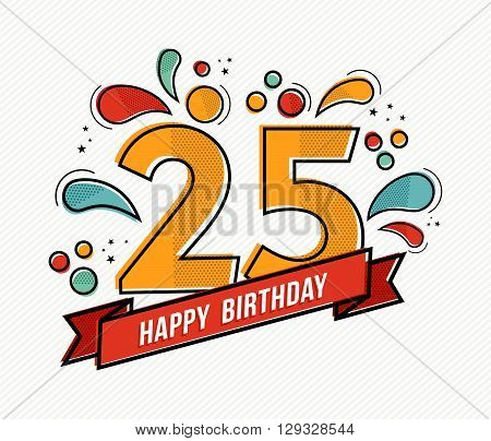 Colorful Happy Birthday Number 25 Flat Line Design