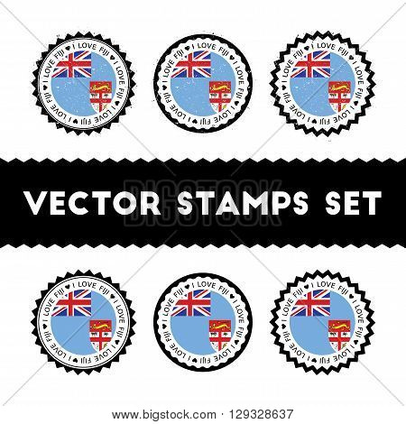 I Love Fiji Vector Stamps Set. Retro Patriotic Country Flag Badges. National Flags Vintage Round Sig