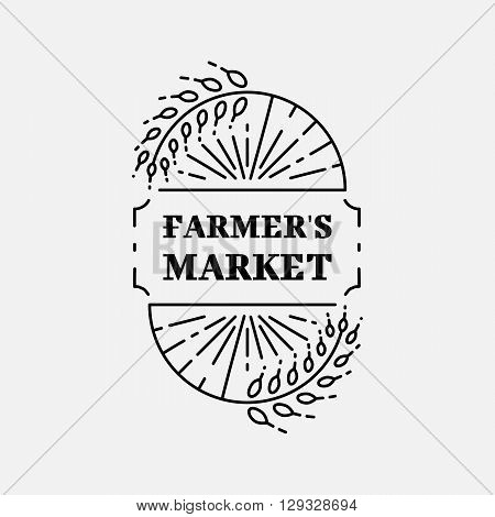 Farmer's Market logo line art Wheat field, Agriculture and organic farm line icon