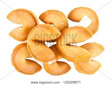 fortune cookies isolated over white background phrase, paper,