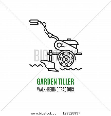 Logo soil cultivation tillage Cultivator agriculture machinery in modern line art style.