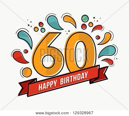 Colorful Happy Birthday Number 60 Flat Line Design
