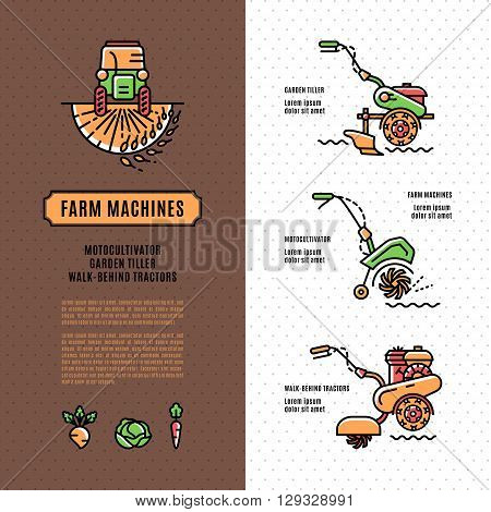 Soil cultivation tillage Agriculture machinery brochure, Farm Machines: cultivator, tiller and walk-behind tractor made in modern line art style Vector illustration