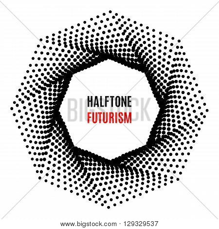 Futuristic technology style halftone background. Octagon of the points for the logo, posters, banners, leaflets, flyers, presentations, Web site. Black on white background vector illustration